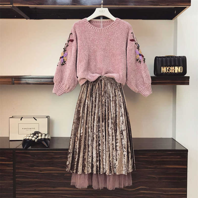 Spring Autumn Two Piece Set Dresses Vintage Dress Elegant Dress Women 2019 Korean Clothes Sweater+skirt Plus Size ZT1837