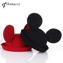 Fibonacci Lovely mickey ears felt hat dome flanging women bowler fashion cap stage performance headdress fedoras