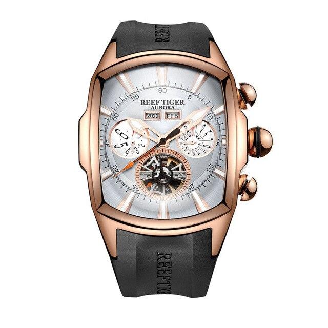 Риф Тигр Аврора Serier RGA3069 Для мужчин Мода Многофункциональный Concept циферблат автоматические механические наручные часы с световой аналоговы...