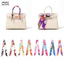 Jellyooy Beachkins New Luxury Silk Twill Scarves For Jelly Handbags Handle Wrap Decoration Colorful Twilly Bag