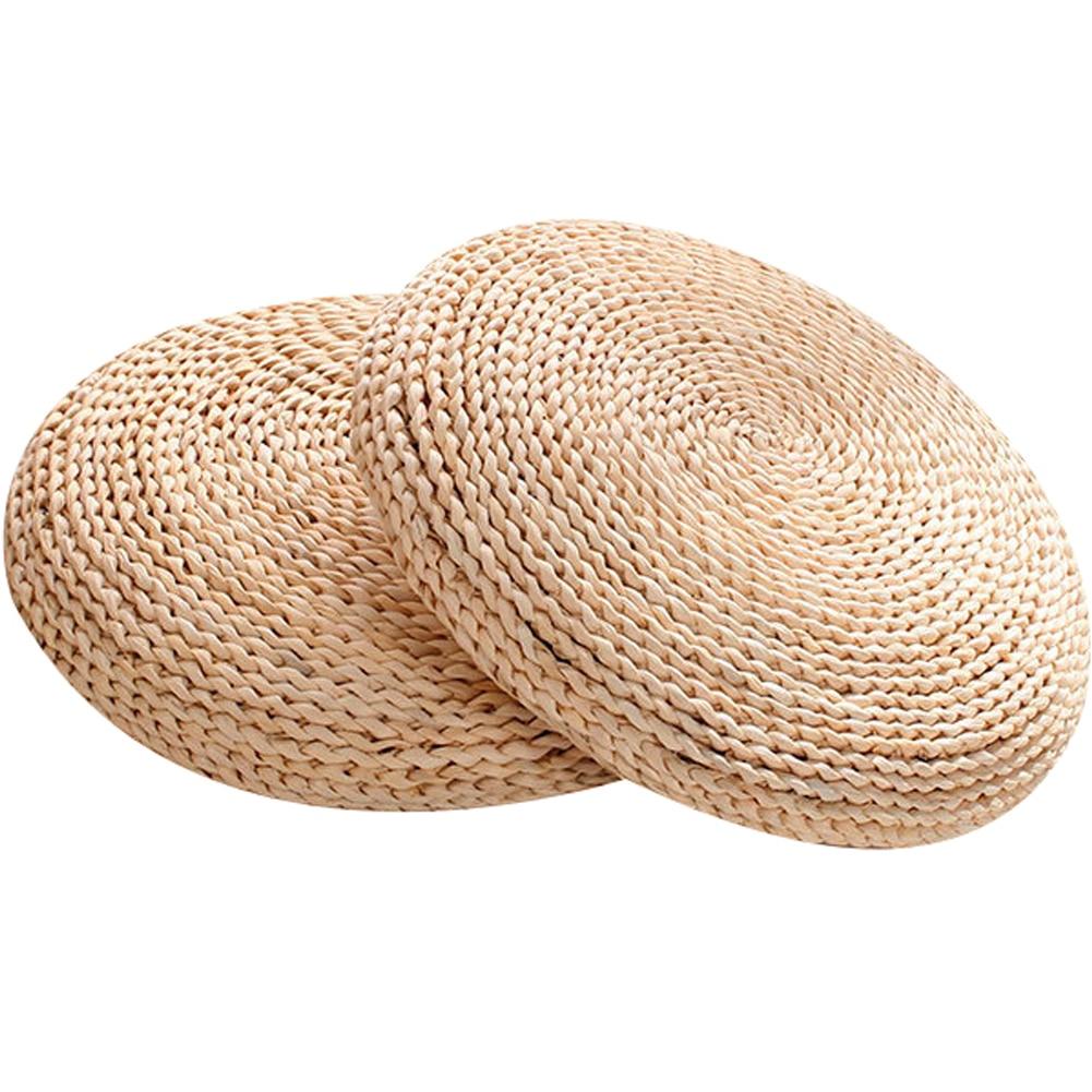 Tatami Futon Meditation Cushion Thickening Yoga Circle Corn Husk Straw Braid Mat Japanese Style Cushion with Silk Wadding