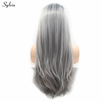 Sylvia Long Straight Hair Wigs Black Roots To Light Grey Synthetic Lace Front Wigs High Temperature Fiber Wigs Women Party Hair