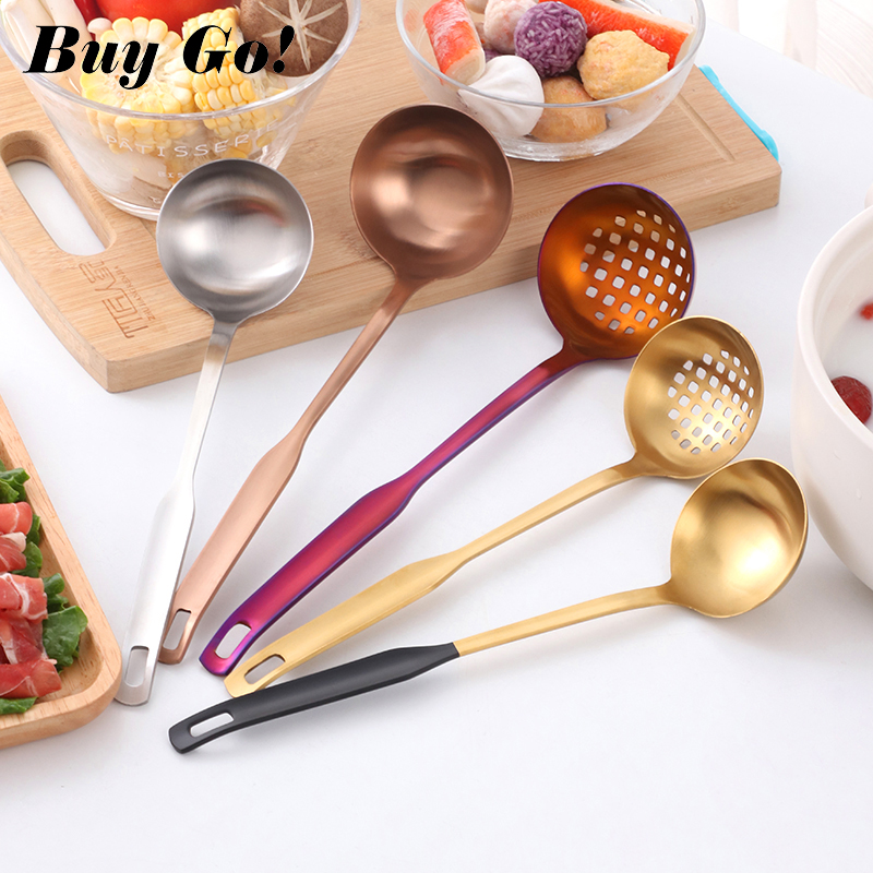 1Pcs Long Handle Rainbow Gold Spoons Set Stainless Steel Soup Ladle Spoon Colander Set High Quality Soup Spoons Kitchen Tools