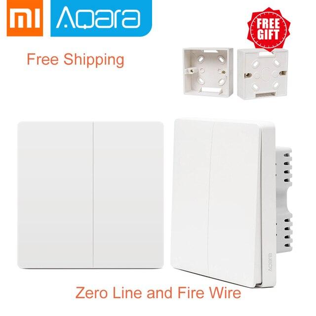 Regalo gratis Xiaomi Aqara Control de luz inteligente Cable de Fuego línea cero doble tecla ZiGBee interruptor de pared 2 versión Mijia control de la aplicación