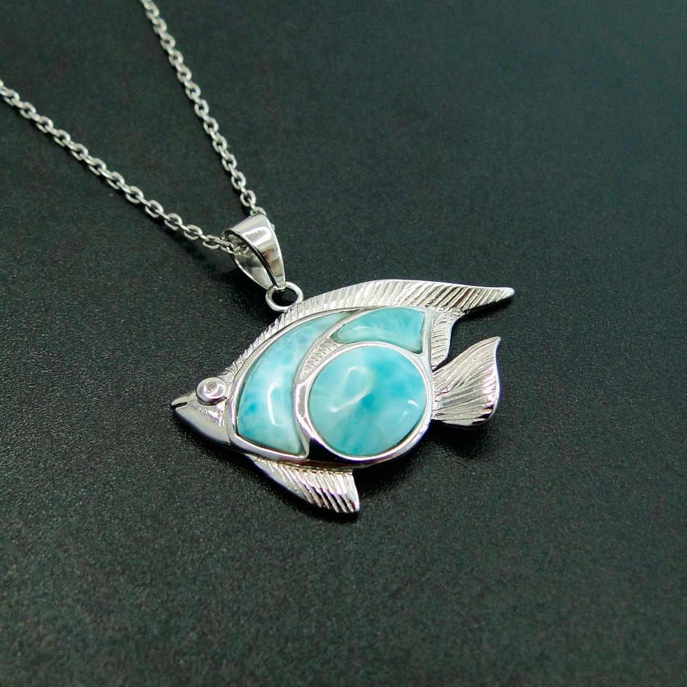 Oval pendant Silver pendant Sterling silver necklace Leaf pendant Natural Larimar necklace Blue gemstone pendant Larimar pendant