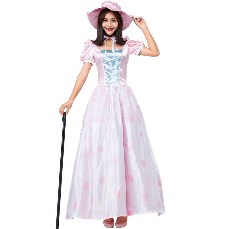 Cosplay halloween carnival party women pink toy doll princess cute princess dress lolita dance long dress/hat costumes