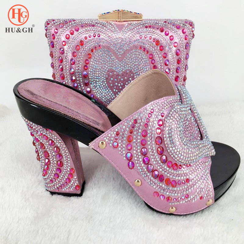 New African shoe and bag set high heel Italian shoe with matching bag 2018 Pink ladies matching shoe and bag Italy shoe and bag doershow italian shoe with matching bag silver african shoe and bag set new design matching shoes and bags for party bch1 6