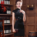 2015 Chinese cheongsam dress summer women's clothing silk cheongsam one-phiece dress mother clothing black quality mulberry silk