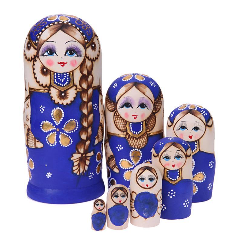 7pcs/set Basswood Blue Russian Dolls Cute Girl with Braid Wooden Matryoshka Handmade Nesting Dolls for Girls Gift