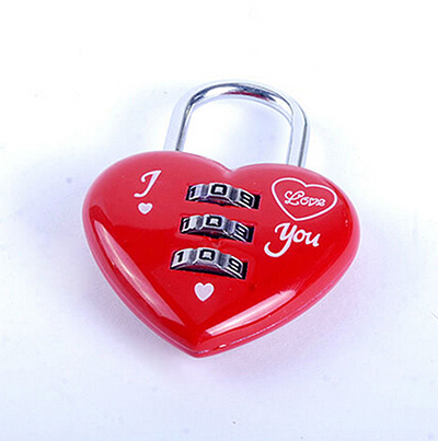 Creative Kawaii Red Heart Shaped Mini Resettable 3 Digits Luggage Suitcase Padlock Coded Lock Luggage Lock