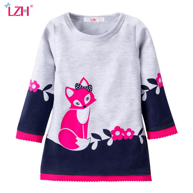 LZH Toddler Girls Princess Dress 2018 Spring Autumn Kids Dresses For Girls Fox Long Sleeve Party Dresses Children Girls Clothing 2018 spring girls dress children lace vestido kids long sleeve princess dresses cotton lining party clothing for 24m 7y