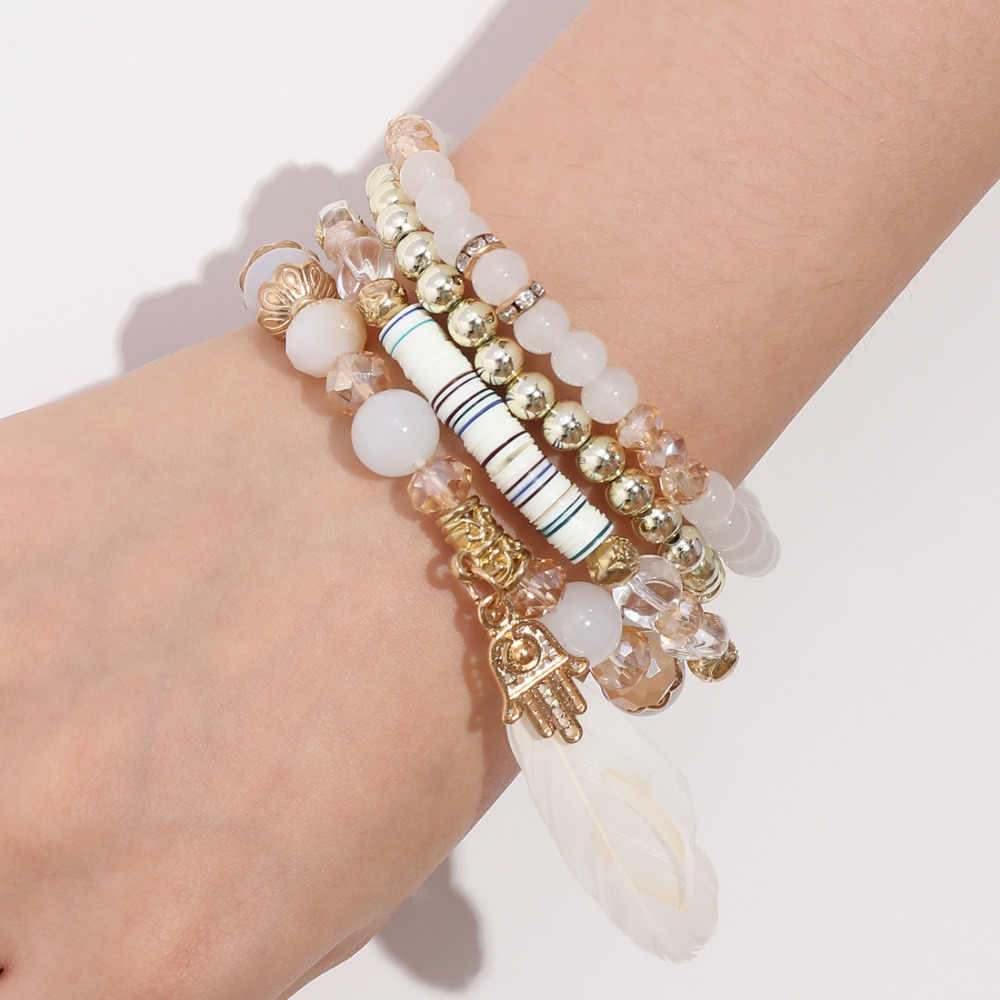 4pcs/set Multiple Layers Beads Crystal Feather Tassel Bracelets For Woman Fashion Pulsera Mujer Charm Bracelet Gifts 2018 New