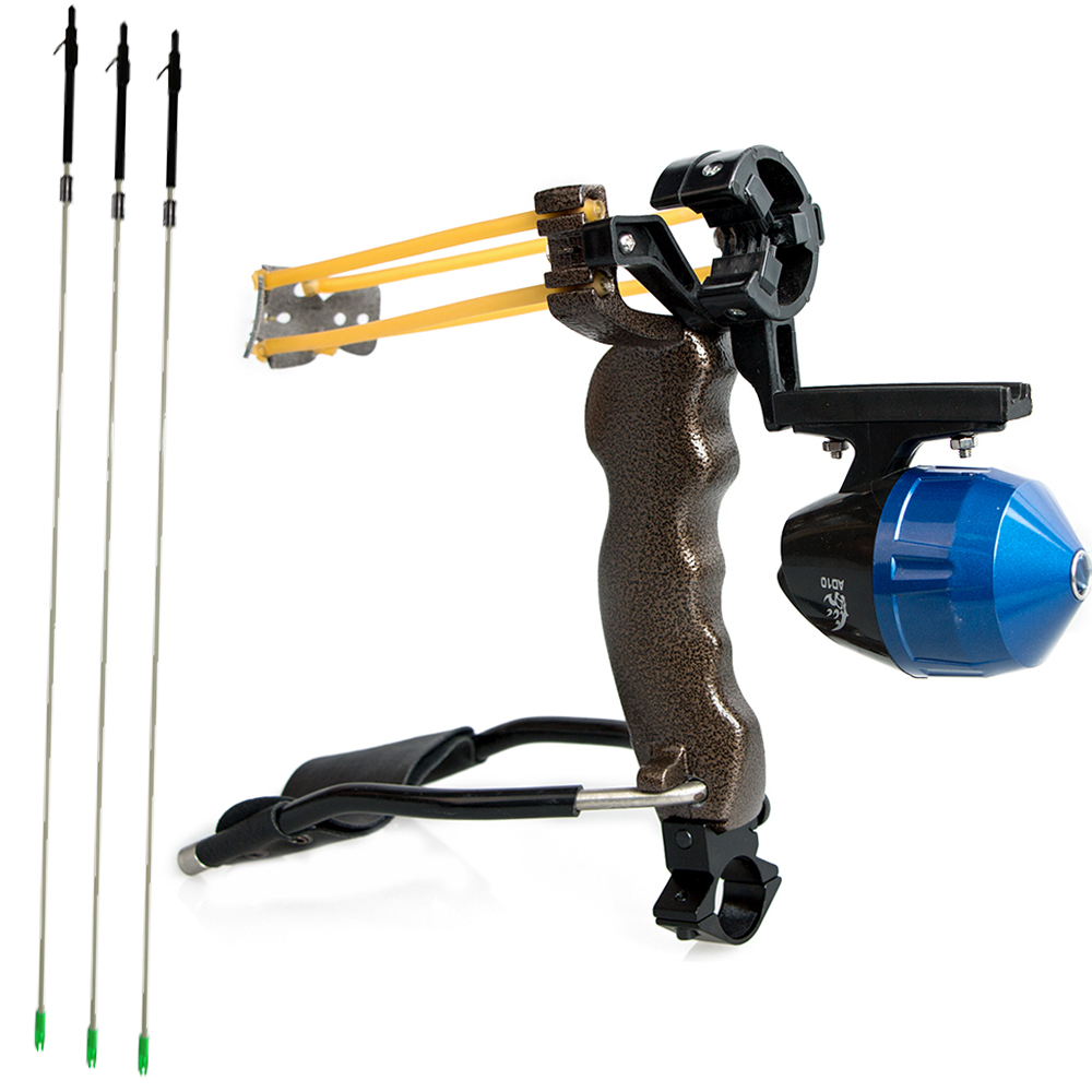 Flèche de pêche à l'arc en plein air avec flèche de pêche à l'arc flèches en fibre de verre à tête large 6 pièces et 1 pc catapulte de fronde de pêche à l'arc