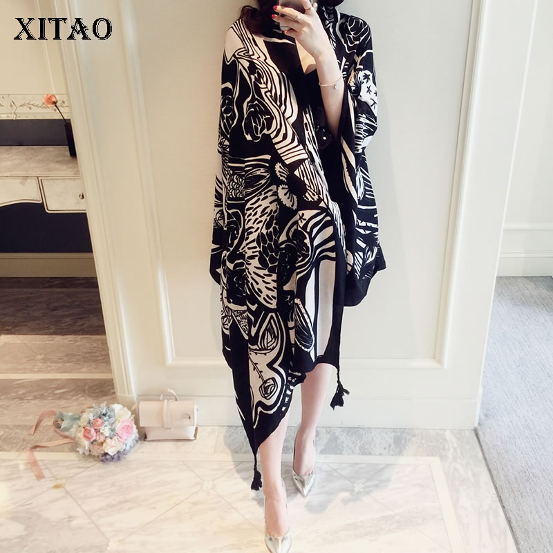 [XITAO] 2019 Spring Summer Korea Fashion New Women Pashmina Female Print Pattern Casual Adult Loose Irregular Scarves WBB2422