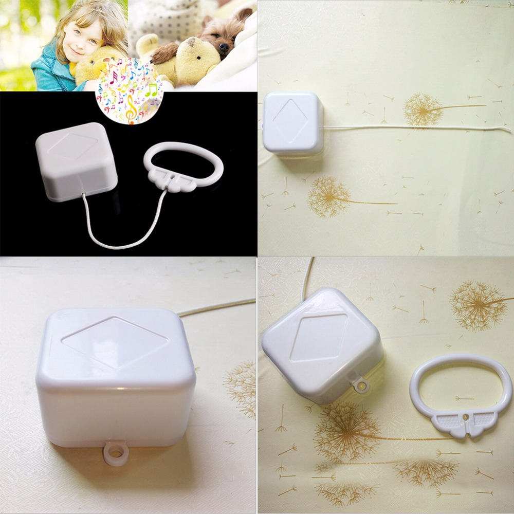 1pcs Pull String Cord Music Box White Baby Bed Bell Kids Toy Random Songs Baby Rattles & Mobiles Cute Gift For Baby