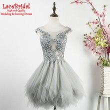 Elegante Grau Ballkleid Mini Perlen Spitze Cocktailkleider 2016 kurze Partei Abschlussball-kleider robe de cocktail vestido de festa curtoTE53