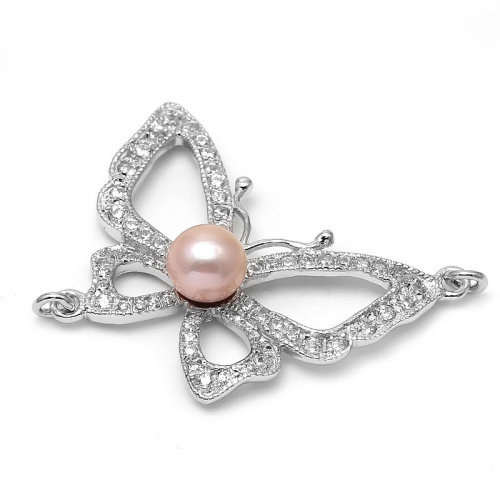 Sterling Silver Zircon Micro Pave Pearl Butterfly Jewelry Connectors For High Quality Necklace And Bracelet Making SLJQ-CZ010A