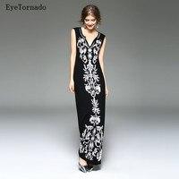 Phụ nữ thời trang mùa hè màu đen hoa thêu beading dài sexy bodycon work bãi biển bohemian maxi bông dress S-2XL 9690