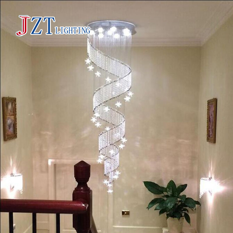 Zyy Modern Spiral K9 Crystal Led Ceiling Lights Large