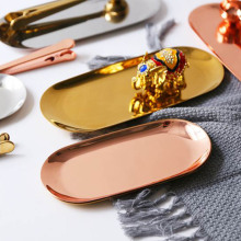 Металлический лоток для хранения из розового золота в скандинавском стиле, роскошный латунный золотой серебряный овальный лоток, железная Фруктовая тарелка, ювелирный поднос для домашнего декора