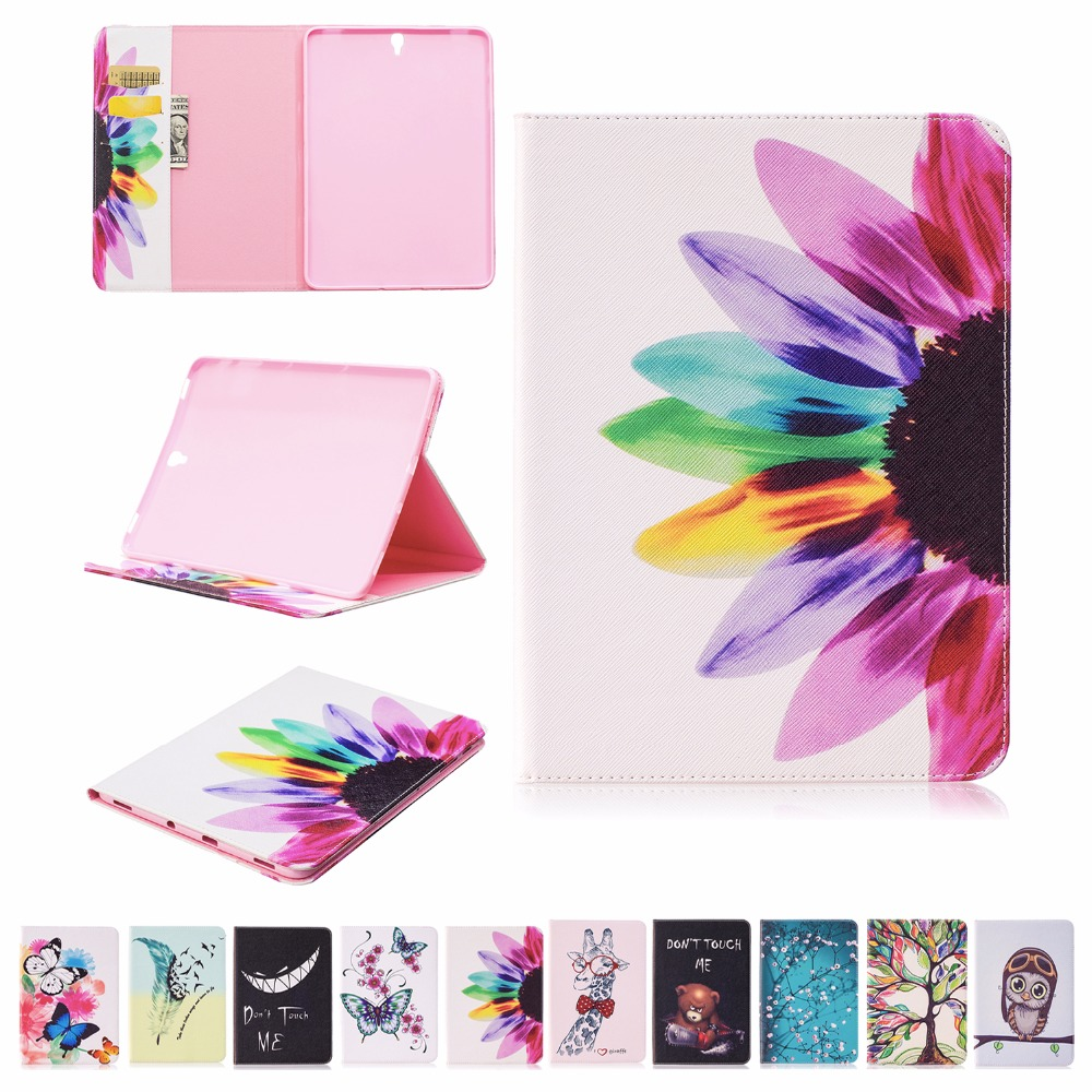 GOOYIYO - For Samsung Galaxy Tab S3 9.7 T820 T825 Tablet Cover PU Leather Painting Case Book Stand Slim Shell with Card Bag new luxury pu leather case for samsung galaxy tab s3 9 7 t820 t825 flip stand cover tablet case for samsung galaxy tab s3 t820
