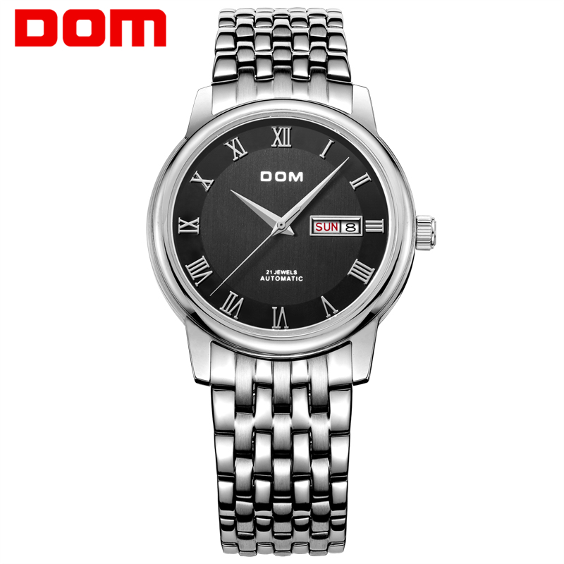 DOM Men mens watches top brand luxury waterproof mechanical stainless steel watch Business watch reloj M-54D-1M dom men watch top brand luxury waterproof mechanical watches stainless steel sapphire crystal automatic date reloj hombre m 8040