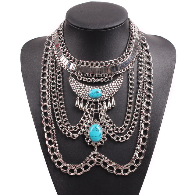 2019 New Design Fashion Silver Color Big Chunky Statement Stone Pendant Chain Necklace For Women New Year Gift