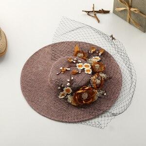 Корея стиль женщины Великолепный светло-фиолетовый цветок elegent мать свадебные аксессуары украшения кружева старинные свадебные шляпы