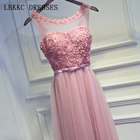 Pink Sleeveless Prom Dresses A Line Vestido De Festa Tulle Flowers Gala Jurken Floor Length Prom Dress Women Evening Dress