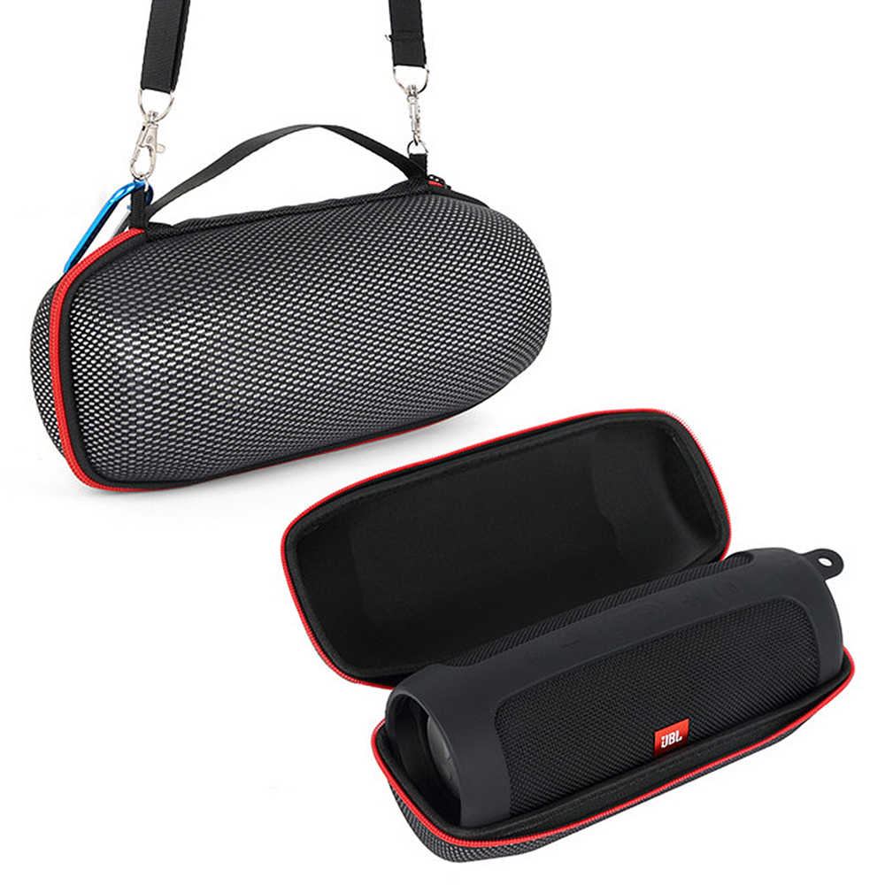 Charge 4 Column Case 2 in 1 Hard EVA Carry Zipper Storage Box Bag + Soft Silicone Case Cover for JBL Charge 4 Bluetooth Speaker