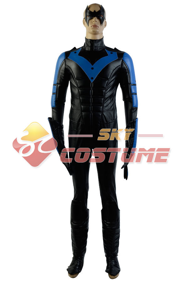 Batman Arkham City Nightwing Richard John Dick Grayson Cosplay Costume Halloween Party For Boy Male font