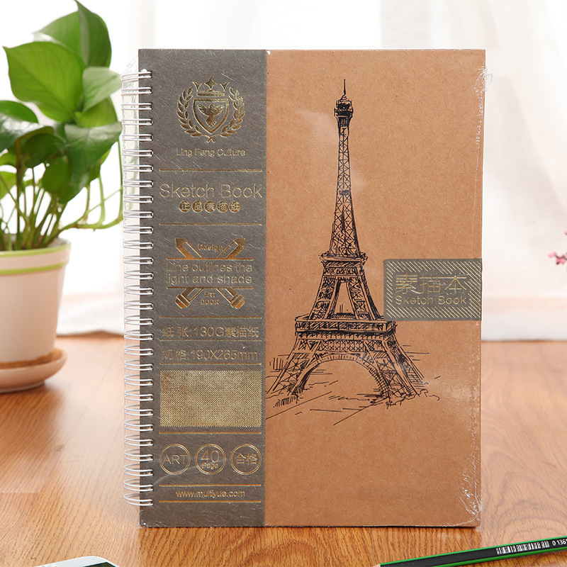 A4/B5 SketchBook Office school Painting Book Drawing  Blank Graffiti 40Pages Sketch Paper spiral notebook