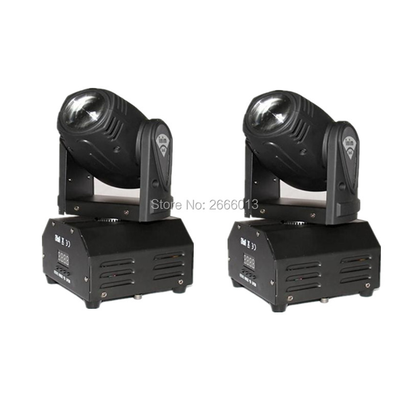 2pcs/lot Led 10w Moving Head Spot Effect Light Mini Lighting party DJ KTV Disco Beam Lights RGBW 10W LED beam stage Equipments high quality mini 10w led spot moving head 7 gobo stage light disco dj dmx512 rgbw stage effect projector stereotypes packaged