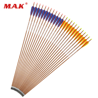 12pcs Red blue feather 89cm /4 Inch Turkey Feather Changeable Head Spine 600/700 Carbon Arrows Archery Hunting/Shooting