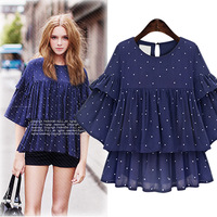 2015 Fashion Summer New Desing Women Wholesale Black Lace With Printed Organza High Quality Blouse