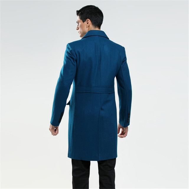 AIMENWANT Custom made men's British fashion S-6XL wool coat Russian man double breasted lake blue trench free shipping Cloth 1
