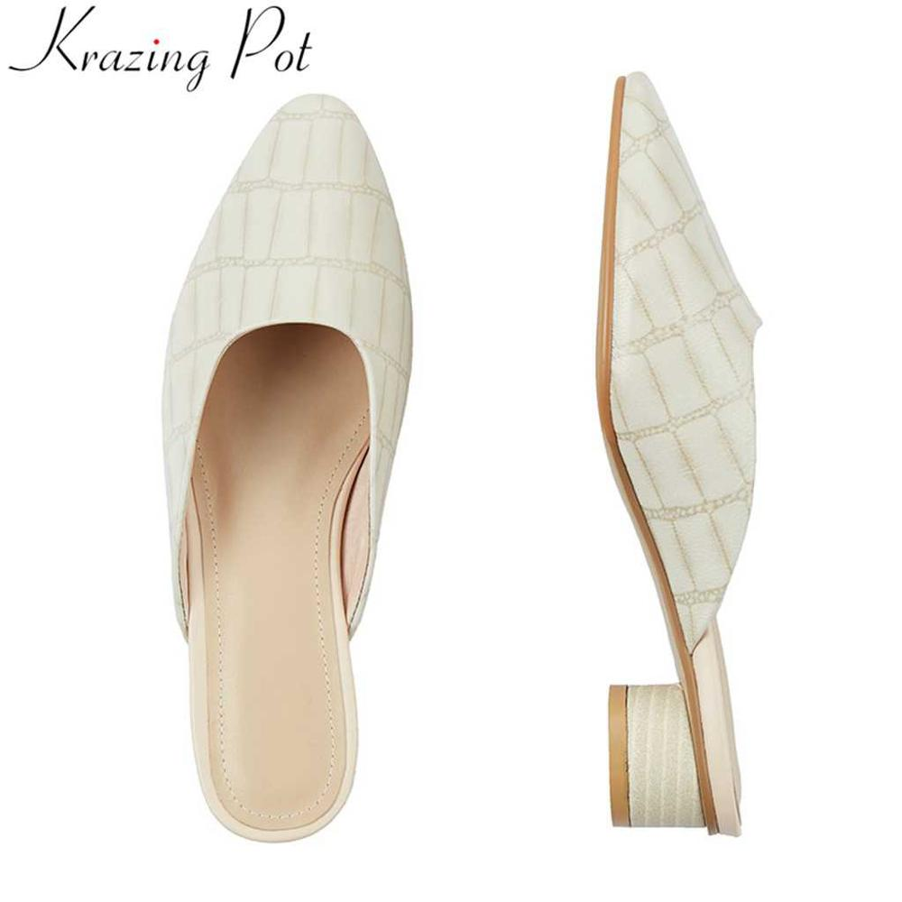 Krazing pot Hollywood movie star full grain leather slip on mules round low heels vintage design