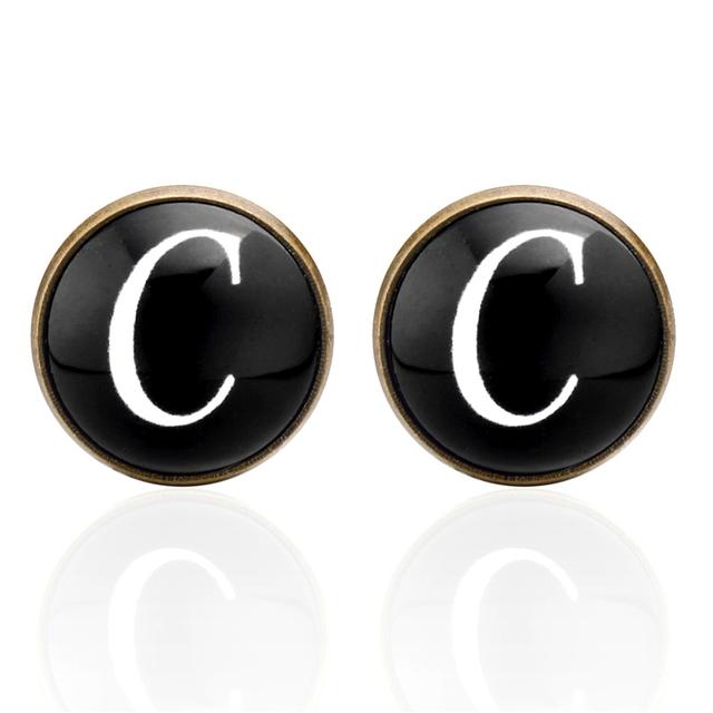Memolissa Glass Cabochon Letters A-z Bronze Cufflinks Business Shirts Cufflink Luxury High-grade Jewelry