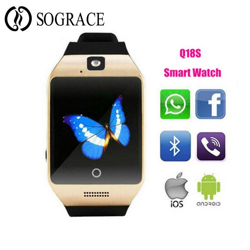 f7d6d7c46988 Q18s reloj de pulsera inteligente con Facebook Whatsapp soporte SIM TF reloj  con ranura para tarjeta Compatible con Android IOS para hombres y mujeres  los ...