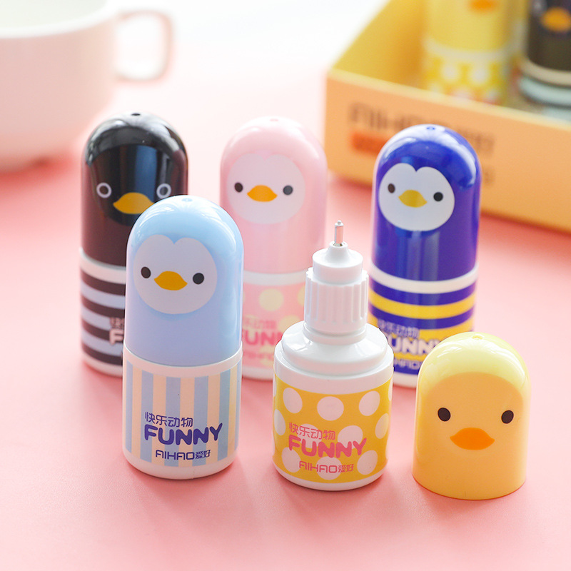 Cute Kawaii Plastic Correction Fluid Corrector Tape Creative Novelty Chick Correction Tapes Office School Stationery