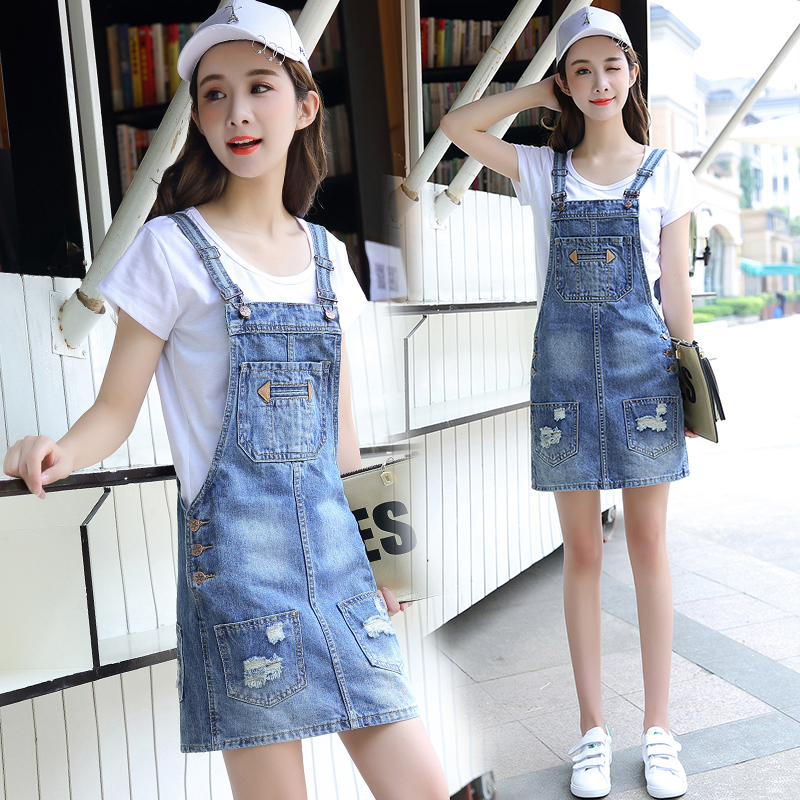 Summer Denim Jeans Dress Women Slim Casual Ripped Holes Sleeveless Jeans Denim Dress 2018 New Fashion Dresses Vestidos in Dresses from Women 39 s Clothing