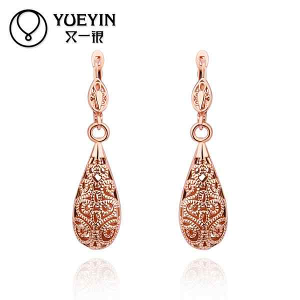 Wholesale Gold color Earrings For Women Wedding jewelry Brincos da Mulher Simple elegant rose gold Accessories