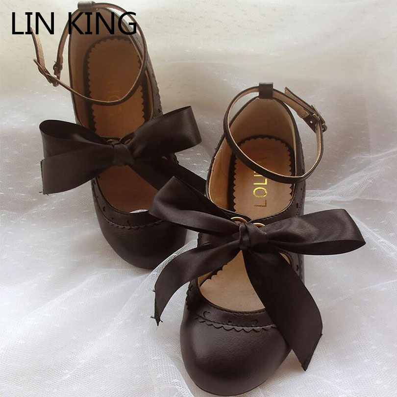 LIN KING Square Heel Women Pumps Buckle Mary Janes Shoes Sweet Knot Princess Lolita Shoes Fashion Round Toe Cosplay Party Shoes rh2300 wired 800 1600 2400 3200dpi gaming optical mouse black orange