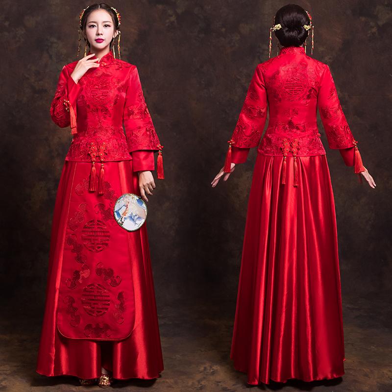 China Traditional Show Bride Dress Clothes High Quality Chinese Style Wedding Gown Red Evening Vintage Dress Formal Kimono