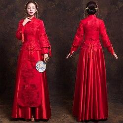 China Traditionellen Show braut kleid kleidung Hohe Qualität chinesischen stil Hochzeit kleid roten abendkleid vintage kleid formale kimono