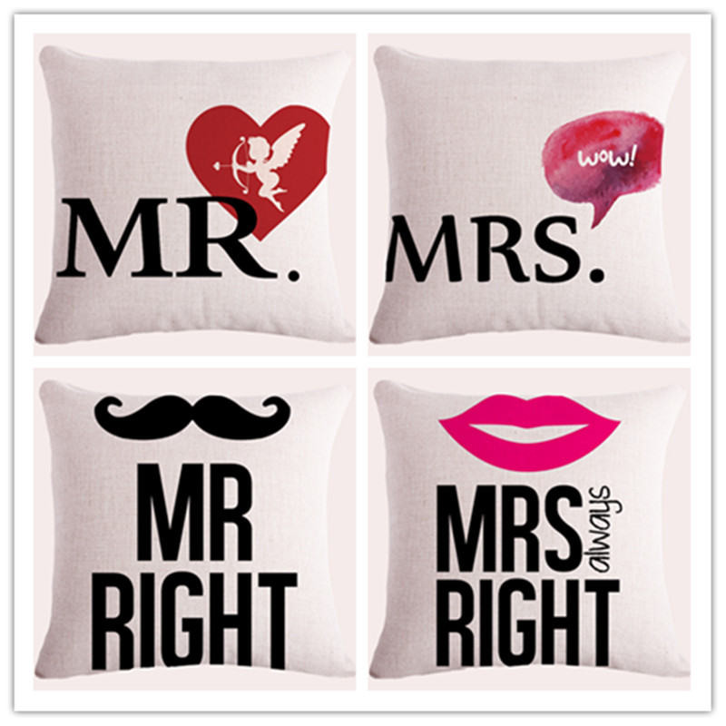 Decorative throw pillows case Letter Mr And Mrs Right Lip Cushion Cover For Sofa Car Decor Almofadas Pillowcase 45x45cm in stock