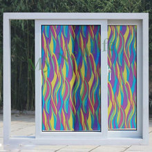 Stained Window Sticker Rainbow waves Window Cover Films Frosted Self-adhesive Decorative Glass films Home Decorative width 90cm planet waves 50e02 50mm strap stained glass w pad