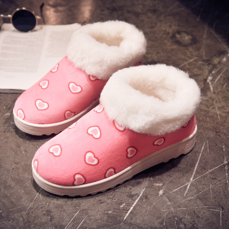 Women Snow Boots Winter Warm Fur Ankle Boots Thick Sole Cotton Shoes Woman Flats Anti-skid Shoes newborn kids high prewalker soft sole cotton ankle boots crib shoes sneaker first walkers