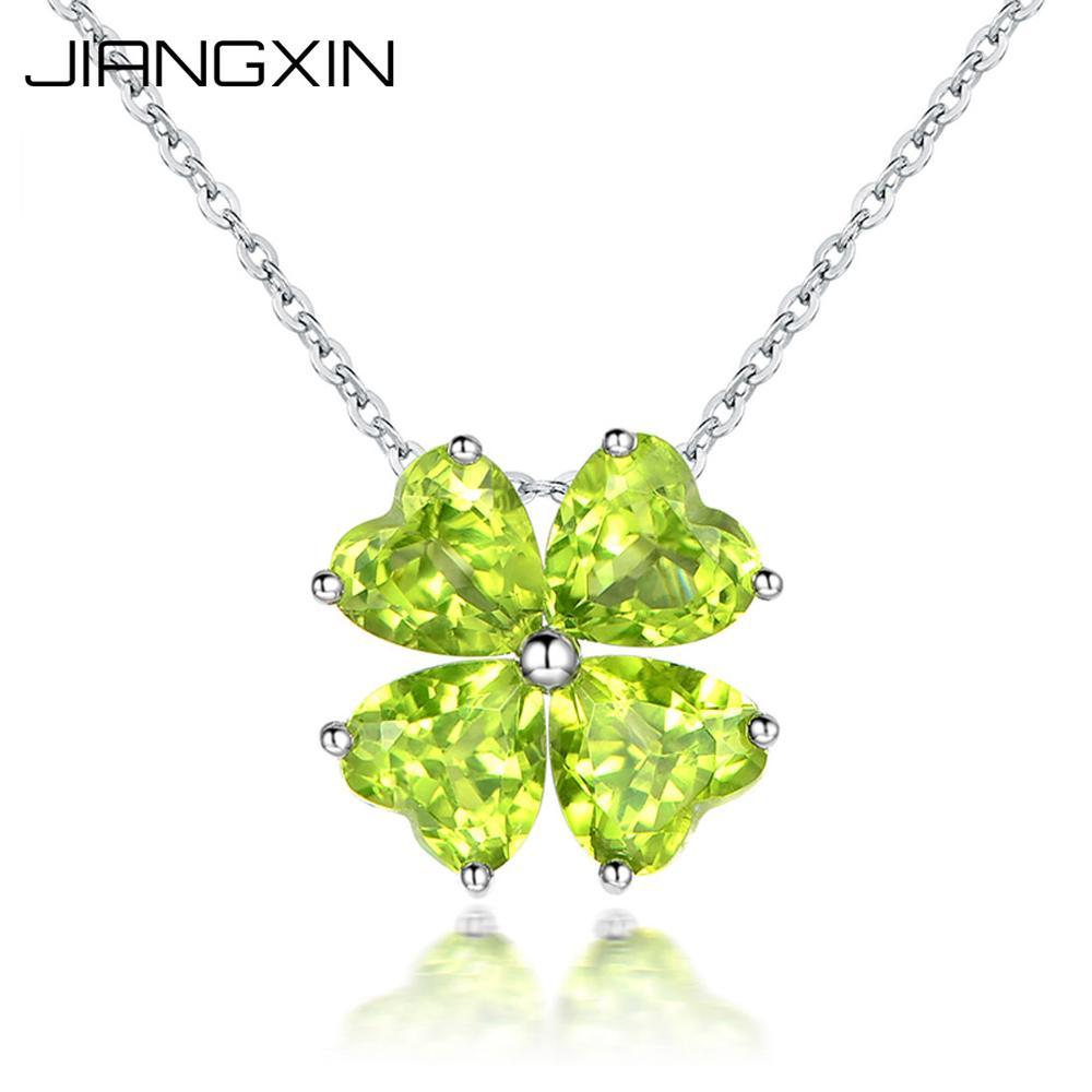 Collier pendentif péridot vert naturel trèfle à quatre feuilles porte-bonheur août pierre de naissance 925 argent Sterling femmes bijoux fins