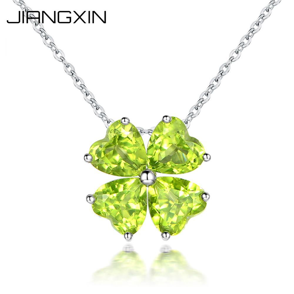 Lucky Four Leaf Clover Natural Green Peridot Pendant Necklace August Birthstone 925 Sterling Silver Women Fine Jewelry